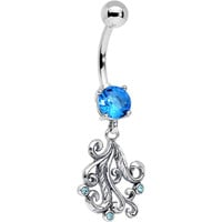 925 Sterling Silver Aqua Gem Feathers Lace Dangle Belly Ring | Body Candy Body Jewelry