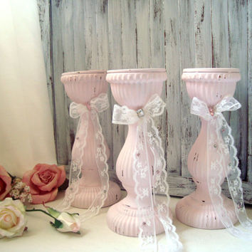 Pink Pillar Candle Holders, French Cottage Light Pink Distressed Chunky Candleholders with Lace Bow, Shabby Chic Home Decor, Dresser Decor