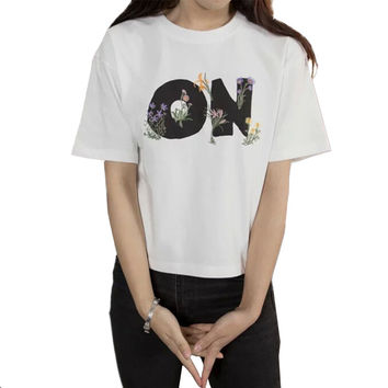 Women Sweet Flowers Letters Embroidery T Shirt Ladies Basic Loose Tees