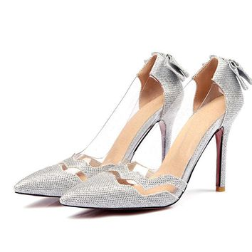 Chinese nightclub party style sexy pointed toe pumps fashion knotbows glitter transparent high-heeled women's shoes big size