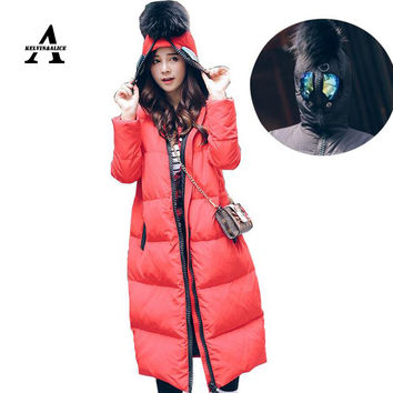 2016 Plus Size Winter Jacket Women Manteau Hiver Femme Fur Ball Anti-wolf Glasses Hooded Duck Down Long Army Green Red Jacket