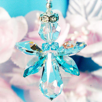 Angel Rear View Mirror Charm Swarovski Turquoise Blue Crystal Car Accessories