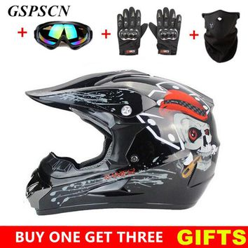 Professional Motocross Off Road Racing Dirt Bike ATV Motorcycle GSPSCN Helmet w/ FREE Goggles, Gloves & Face Mask.