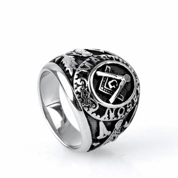 Mens Masonic Ring AG Letter 316L Stainless Steel Vintage Feather Arrow Silver Rings Punk Rock Jewelry Mason Freemasonry Rings