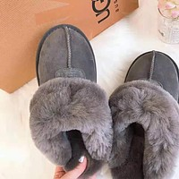 """UGG"" Winter Classic Trending Women Stylish Warm Wool Slippers Shoes Grey"