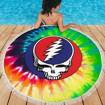 Steal Your Face Tie Dye Round Beach Blanket
