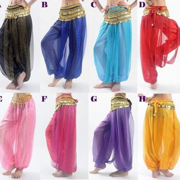 Belly Dance Tribal Costume Shinny Sequin Balloon Bloomers Trousers & Harem Pants = 1932456580