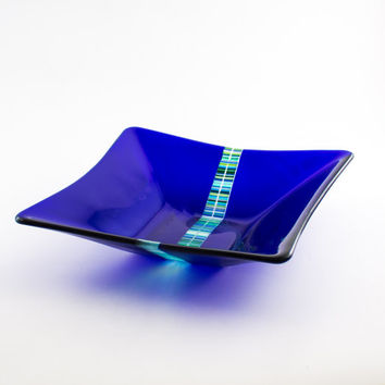 Cobalt Blue Glass Bowl, Fused Glass, Square Bowl, Fruit Storage, Salad Server, Kitchen Accessories, Blue Kitchen Decor, Unique Wedding Gift