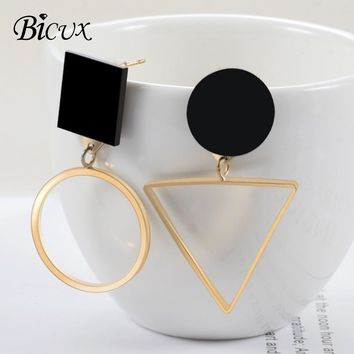 BICUX Korean Statement Acrylic Geometric Gold Silver Asymmetric Drop Earrings for Women Fashion Long Triangle Round Earring Gift