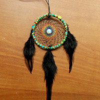 Small Rainbow Dream Catcher with Opalite // Car Mirror Decor