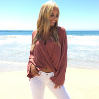 Urban Wrap Blouse In Rose