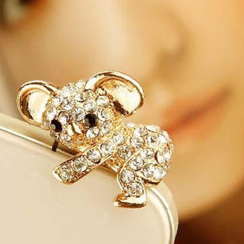 1pcs of Crystal  Lovely Koala Bear Earphone Cap Dust Plug Koala Dust Plug Lean on iPhone 4 & 4S Headphone 3.5mm