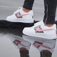 Nike Trending Women Men New Style White Camouflage Pink Hook Sport Running Shoe Sneakers I