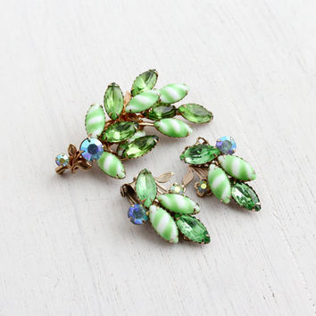 Vintage Green Glass Brooch & Clip On Earrings - Demi Parure White, Aurora Borealis Floral Costume Jewelry Set / Faceted Marquise