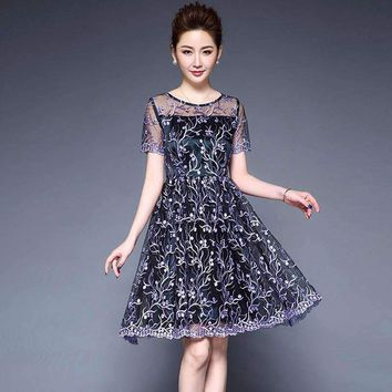 Womens mesh Embroidery Dresses