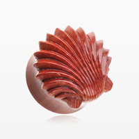A Pair of Ariel's Shell Double Flared Wood Ear Gauge Plug