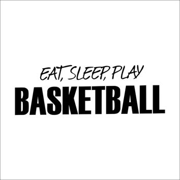"Characters ""Basketball Eat Sleep Play"" wall stickers home decor decals art For Kids Room  PVC 46*57CM SM6"