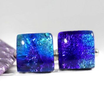 Dichroic Glass Cufflinks in Purple, Blue and Turquoise, Mens Jewelry