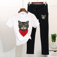 Two Piece Set Women's Heart Cat Sequins T Shirt And Slim Sweatpants/Long Pants Set  3 Colors