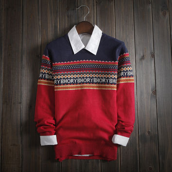 Men's Ethnic Fair Isle Knitwear Comfortable Sweater