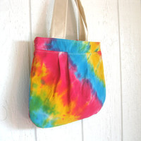Eco Friendly. Upcycled Tshirt. Pleated Bag. Fall Fashion. Bright. Rainbow. Tie Dye. FREE Shipping.