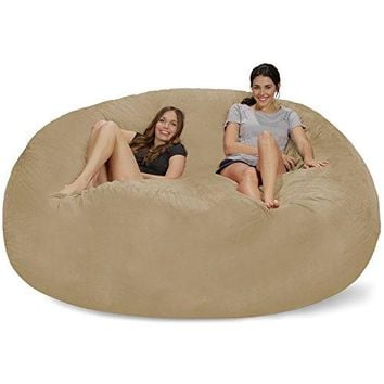 Chill Sack Bean Bag Chair: Giant 8' Memory Foam Furniture Bean Bag-Micro Fiber Cover- Camel