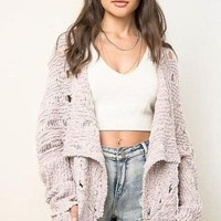 Free Form Cardigan Sweater - Mauve