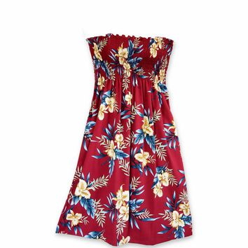 Midnight Maroon Moonkiss Hawaiian Dress
