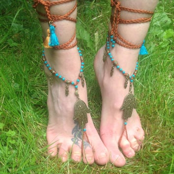 Hamsa Moon Barefoot sandals, Boho Sandals, Turquoise beads, Wrap sandals, Beach Wedding sandals, Hippie sandals, bottomless shoes, macrame