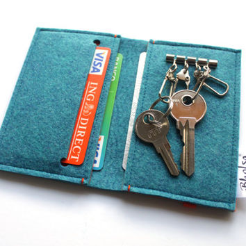 Card Organizer + Keyring Wallet / Key holder Wallet- MATCH YOUR COLOR