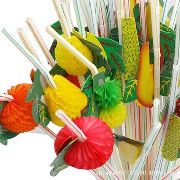 ac NOVQ2A 50 Pcs 3D Fruit Cocktail Drinking Straw Assorted Party BBQ Hawaiian Theme