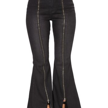 Black Denim Zipped Legs Bell Bottom Jeans
