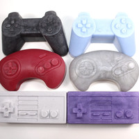 Video Game Controller Soaps - set of 6 - Playstation, Nintendo, Sega, joystick, classic, gamer, geek, stocking stuffer, party favor, boys