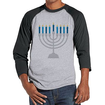 Hanukkah Shirt - Menorah Shirt - Men's Hanukkah Menorah Grey Raglan Tee - Happy Hanukkah Outfit - Hanukkah Gift Idea - Family Holiday Shirts