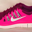 Nike Free 5.0 running shoes with Swarovski detail Bright Magenta and White