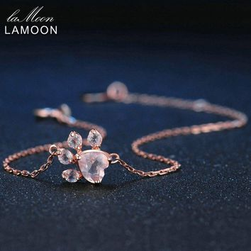 LAMOON S925 5X5.5mm Rose Quartz 925 Sterling Silver Jewelry Charm Bracelet Rose Pink 100% Pendant Lovely Chain Wedding
