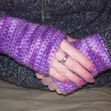 Crochet fingerless gloves mittens purple wrist warmers