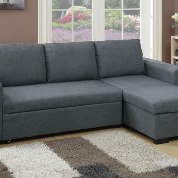 Poundex F6931 2 pc Everly II collection blue grey polyfiber fabric upholstered sectional sofa set with pull out sleep area