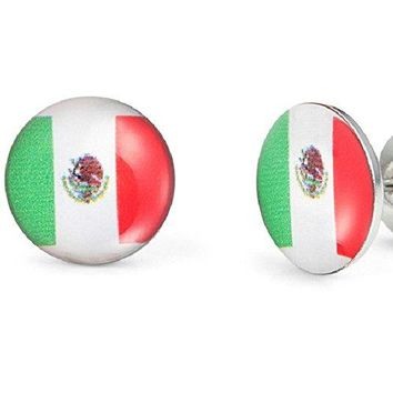 Mexican Flag Graphic Stud Earrings for Men