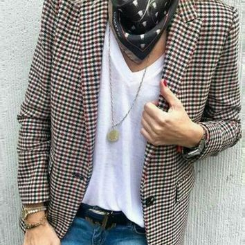 New Red Plaid Pockets Button Tailored Collar Office Worker/Daily Blazer