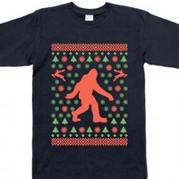 Bigfoot Sweater Tee-Unisex Navy T-Shirt