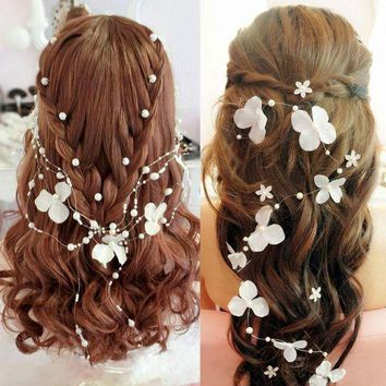 CREYIJ6 Wedding Bridal White Pearl Flower Garland Bridesmaid hairband Head band headband jewelry headwear accessories