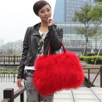 Women's 100% Real Mongolia Farmed Lamb Fur Bag Clutch Chic Xmax Purse Handbags
