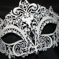 White and Rhinestone Metallic Masquerade by TheCraftyChemist07