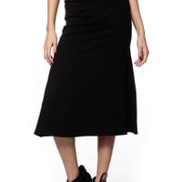 Chic Black Knee Length Flare Skirt