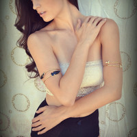 Upper Arm Cuff /// Lux Divine Double Arrowhead Gemstone Arm Wrap/// Gold