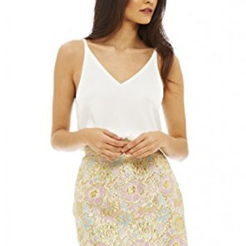 White Sleeveless Top and Gold Floral Skirt 2 in 1 Dress