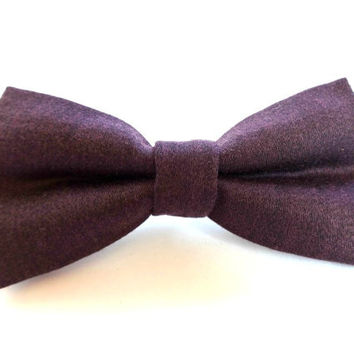 Purple Bow Tie with Polka Dot Tips, Man Bow Tie
