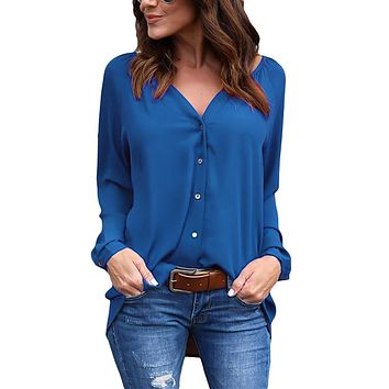 2018 Spring Summer V Neck Sexy Long Sleeve Blouse Button Loose Chiffon Women Shirt Elegant Tops Plus Size S-5XL