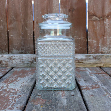 Large Vintage Anchor Hocking Wexford Square Glass Candy Jar with Lid - Storage Container -  Made in the USA